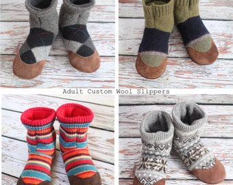 Adult slippers, Felted Wool indoor shoes - recycled wool slippers - CUSTOM - eco-friendly