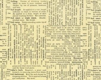 RJR Vintage Made Modern Sewing Word Typed Grey Fabric Newsprint Cream 2471-001 BTY