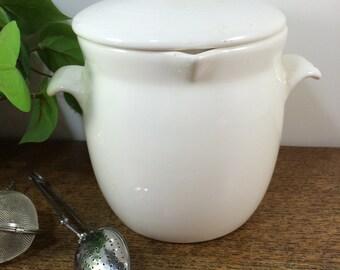 SALE! White Ceramic Tea Pot with Lid - Porcelain Tea Strainer - Tea Steeper - Tea Infuser - 3 piece