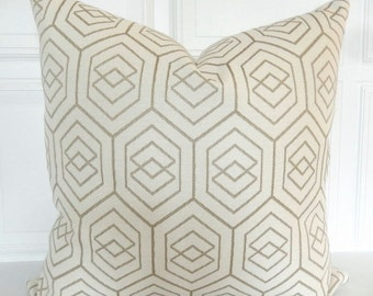 Neutral Pillow Cover - Decorative Pillow - 18x18, 20x20, 22x22, Lumbar - Woven -Tan, Cream - Toss Pillow - Geometric - Natural