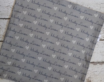 Personalized baby gray name swaddle heart blanket: baby and toddler personalized name newborn hospital gift baby shower gift