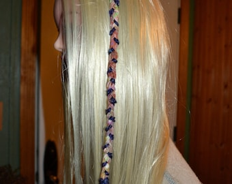 Clip in long hair or dread accessory with amethyst and peach howlite
