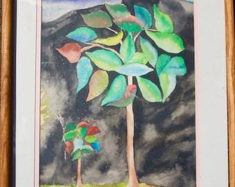 TREES AT NIGHT Original Watercolor Painting/ Vintage/ Handmade