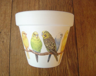 Hand Painted and Decoupaged Decorative Flower Pots Budgies and Canaries 2