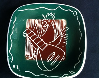 A Ceramic Trinket Dish With The Design Of A Singing Chicken Playing A Musical Instrument Hand Painted Italy