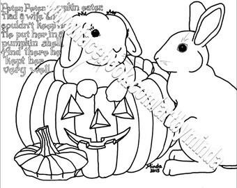 Bunny Nursery Rhyme Coloring Series, Peter, Peter, Pumpkin Eater