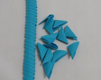 250pcs Folded paper, 3D Origami Triangles, Modular Pieces, Bright Blue Color Paper