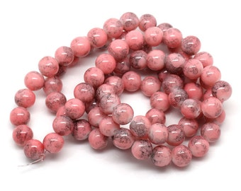 Marbled Pink Glass Beads 10MM