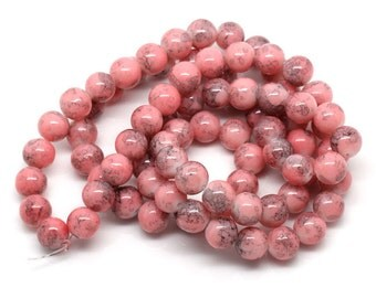 BULK - Marbled Pink Glass Beads 10MM