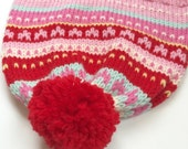 ELLA: Handknit hat, hearts, fair isle, red, dark pink, baby pink, white, mint, yellow, pompom, large child/teen/adult size