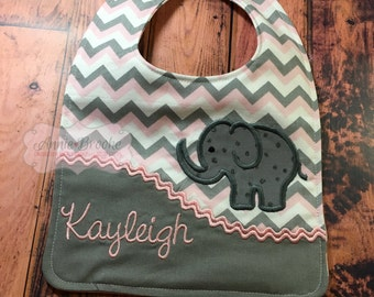 Personalized Bib, - Elephant Bib, -Grey and Pink Bib, - Monogrammed Baby Bib, - Embroidered Baby Bib, - Baby Shower Gift