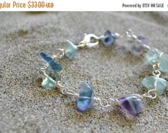 ON SALE Midnight Swim-Sterling Silver, wire wrapped, Fluorite, Bracelet