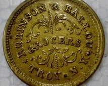 Civil War Store Card Token 1863 Robinson & Ballou Troy N.Y./Redeemed at Our Store Fuld 890E 5B Brass Coin
