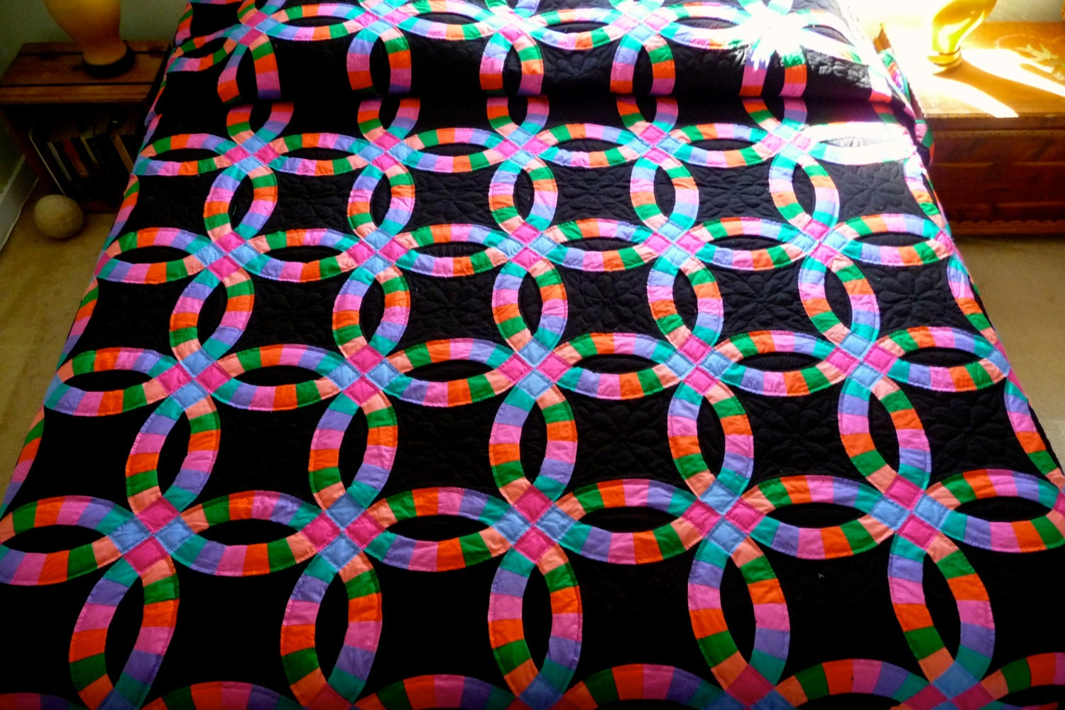 wedding ring amish quilt black by