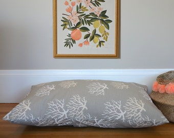 New! Nautical Dog Bed Cover, Gray Coral Custom Pet Bed Duvet Cover, Choose Your Size XS S M L XL XXL