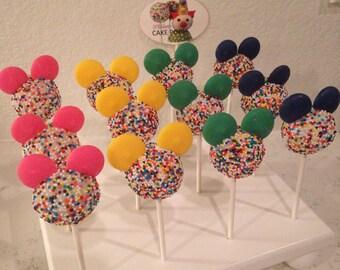 12 Rainbow MICKEY MOUSE theme cake pops, Disney inspired, Rainbow Mickey