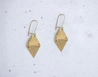Diamond triangle dangle brass earrings