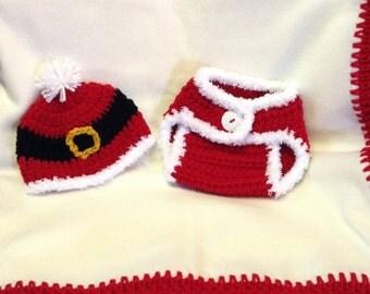 Christmas fleece blanket and crochet set