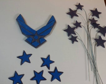 Edible fondant Air Force military emblem with stars