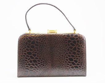 Vintage Brown Crocodile Leather Handbag, Faux Crocodile Pattern, 1950's