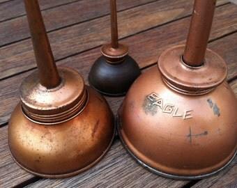 Trio of Vintage Oil Cans, Eagle, Retro Garage. Industrial Home Decor, Rustic, Vintage Garage