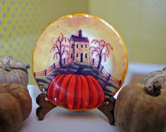 Halloween Pumpkin  Miniature Plate for Dollhouse 1:12 scale Collectible