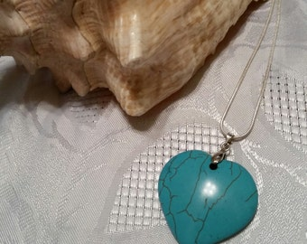 Turquoise Heart sterling chain