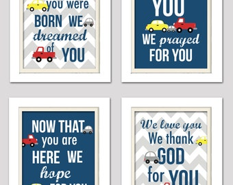 Transportation nursery prints, navy and red cars prints, navy and red nursery art, baby boy nursery, before you were born poem