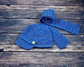 toddler boy crochet hat scarf,newsboy crochet hat,scarf set,blue boy crochet hat,scarf,3-5 years..winter crochet boy hat scarf,boy scarf hat