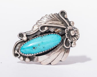 Vintage Southwest Native American Turquoise & Sterling silver Ring Size 7