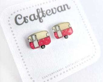 red polka dot caravan earrings