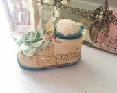 Wish Baby Bootie Baby Shower Gift Party Favor Altered Art Decor Family Heirloom - Big Green Paper Rose Velvet Butterfly Antique Leather Shoe