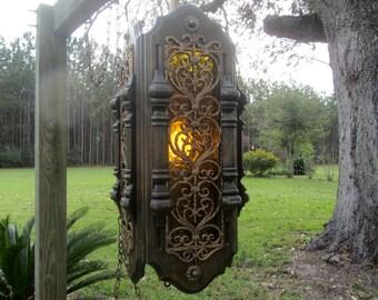 Vintage Ornate Swag Light, Chandelier, retro light, 1960-70s,Leaded Light,gothic,carved wood light,ornate light,gold,,vintage lamp,
