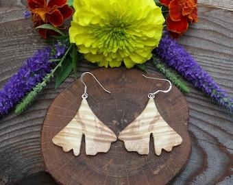 Ginkgo Leaf earrings, Natural Wood Earrings, Leaf earrings, Boho Earthy earrings, Sterling Silver Leaf leaf earrings, Wooden accessories