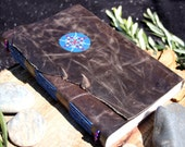 Leather Journal with Mandala / Handmade Book / Gratitude Journal