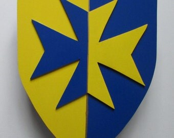 Shield and sword wooden blue and yellow