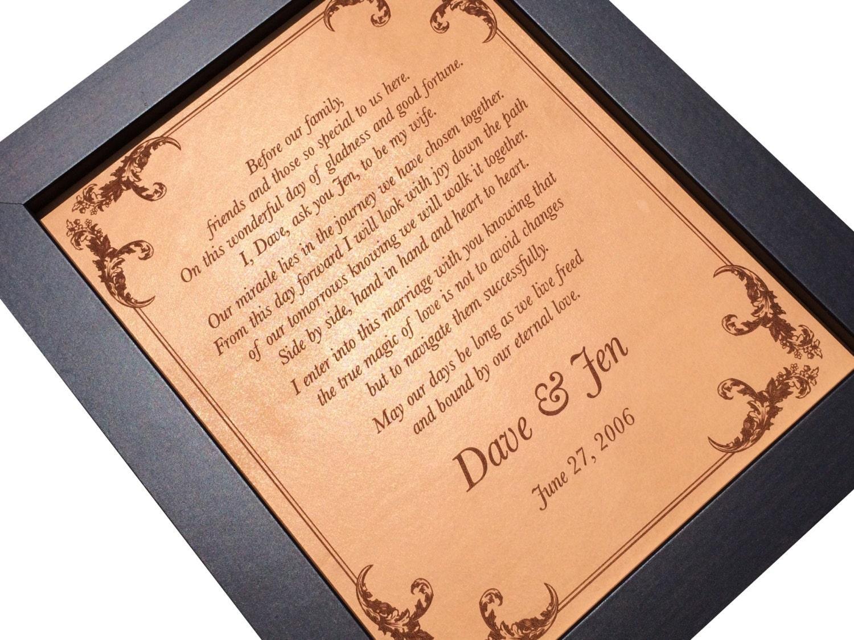 Wedding Vows Sign 3rd Anniversary Gift Wedding Song Lyrics Art