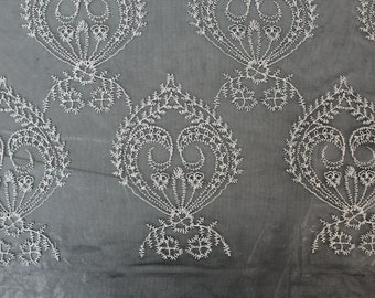 Black White Victorian Royalty Nylon Cotton Lace Fabric 593-LACEEMB-BLACK/IVORY