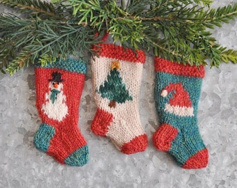 Snowman, Tree & Santa Hat Set of 3 Hand-Knit Christmas Stocking Ornaments