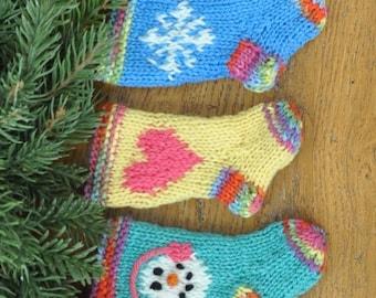 Snowman, Heart & Snowflake Hand-knit Christmas Stocking Ornaments