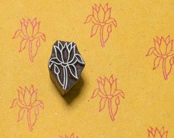 Lone Flower 114, wood block stamp