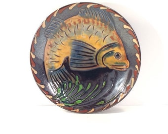 Majolica Pottery Fish Decorative Handmade Plate Signed