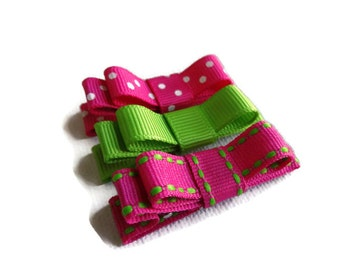 Tuxedo Bow Hair Clips, Pink Green Hair Clips, Hair Clips for Baby, Baby Hair Clip, Set of 3 baby barrettes, Hair Accessories,Pink Hair Clips