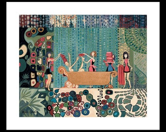 Bathroom, Bath Room, Funny, Gustav Klimt, Quirky, Whimsical, Dressing Room ,Craft Room, Sewing Room, Wall Decor, Wall Art, Picture, Painting