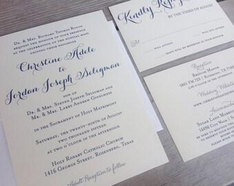 Wedding Invitation Suite - Romantic Chic Calligraphy - Modern Ivory/Cream Metallic