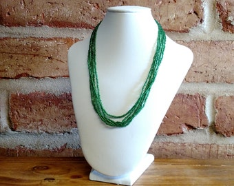 Silverlined Emerald Green Seed bead Necklace