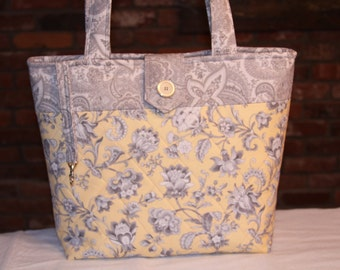Yellow and Gray Quilted Tote Bag