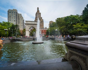 Fountains and arch in Washington Square Park, Greenwich Village, Manhattan, New York. | Photo Print, Stretched Canvas, or Metal Print.