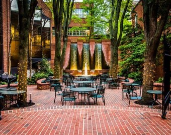 Fountains and outdoor dining area in downtown Lancaster, Pennsylvania. | Photo Print, Stretched Canvas, or Metal Print.