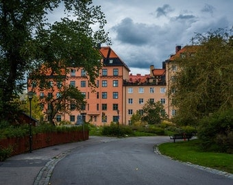 Klefbecks backe and buildings on Skanegatan in Södermalm, Stockholm, Sweden - Photography Fine Art Print or Wrapped Canvas